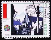 MOSCOW, RUSSIA - APRIL 2, 2017: A post stamp printed in Cuba devoted to 5th World festival of Youth and Students, Warsaw 1955, ci. Rca 1978 stock photo