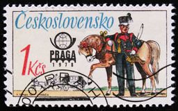 MOSCOW, RUSSIA - APRIL 2, 2017: A post stamp printed in Czechoslovakia shows coachman and horse, circa 1978 royalty free stock images