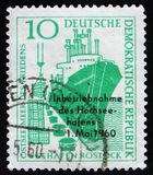 MOSCOW, RUSSIA - APRIL 2, 2017: A post stamp printed in DDR (Germany) shows Ship Friendship, circa 1960 royalty free stock images