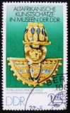 MOSCOW, RUSSIA - APRIL 2, 2017: A post stamp printed in DDR (germany) shows a golden pot with treasure stones, the series 'Old Af. MOSCOW, RUSSIA - APRIL 2, 2017 royalty free stock image