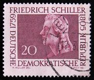 DDR Germany postage stamp shows portrait of Friedrich Schiller, circa 1959. MOSCOW, RUSSIA - APRIL 2, 2017: A post stamp printed in DDR Germany shows portrait of Royalty Free Stock Photos