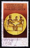 MOSCOW, RUSSIA - APRIL 2, 2017: A post stamp printed in DDR (germany) shows a signet ring, the series 'Old African Art. MOSCOW, RUSSIA - APRIL 2, 2017: A post stock photo
