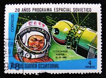 MOSCOW, RUSSIA - APRIL 2, 2017: A post stamp printed in Equatorial Guinea shows Yuri Gagarin, circa 1978 royalty free stock photos