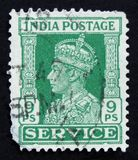 Indian postage stamp shows King George VI, circa 1942 Stock Images