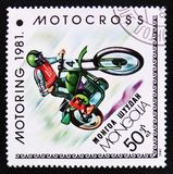Motocross, Motoring serie, circa 1981. MOSCOW, RUSSIA - APRIL 2, 2017: A post stamp printed in Mongolia shows Motocross, Motoring serie, circa 1981 Stock Images