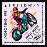 Speedway, Motoring serie, circa 1981. MOSCOW, RUSSIA - APRIL 2, 2017: A post stamp printed in Mongolia shows Speedway, Motoring serie, circa 1981 Royalty Free Stock Images