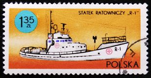 Rescue vessel R-1, series Ships under the Polish Flag, circa 1971 Stock Images