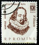 F. Bacon, English philosopher, statesman, scientist, jurist, orator, and author, circa 1961. MOSCOW, RUSSIA - APRIL 2, 2017: A post stamp printed in Romania royalty free stock photos