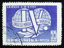 IV Trade Union Congress Emblem, circa 1957 Royalty Free Stock Photos