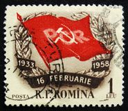 MOSCOW, RUSSIA - APRIL 2, 2017: A post stamp printed in Romania. Shows 25th Anniversary of Grivita Strike, circa 1958 Royalty Free Stock Photo