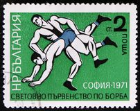 Wrestling from series `European Wrestling Championship`, Sofia, 1971`, circa 1971 Royalty Free Stock Photos