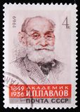 Portrait of academician I. Pavlovi, circa 1969. MOSCOW, RUSSIA - APRIL 2, 2017: A post stamp printed in USSR shows a portrait of academician I. Pavlovi, circa Stock Photography