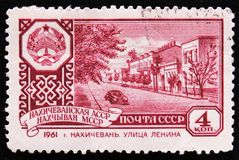MOSCOW, RUSSIA - APRIL 2, 2017: A post stamp printed in USSR shows a streets of a capital of Nakhichevan republic, circa 1961 royalty free stock image