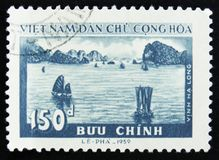 MOSCOW, RUSSIA - APRIL 2, 2017: A post stamp printed in Vietnam. Shows boats sailing, circa 1959 stock photography
