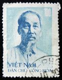 MOSCOW, RUSSIA - APRIL 2, 2017: A post stamp printed in Vietnam. Shows a portrait Ho Chi Minh, circa 1960 stock image