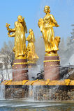 Moscow, Russia, April,20,2014, Russian scene: Nobody, Fountain Friendship of peoples at the exhibition of achievements Stock Photo
