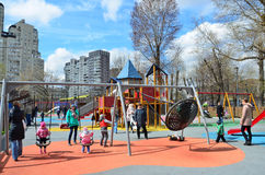 Moscow, Russia, April, 21, 2016. Russian scene: people walking on the children`s playground in the park Tagansky in Moscow Stock Photography