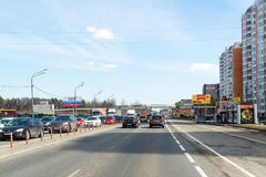 Moscow, Russia -  April 08.2016. Schelkovskoe highway passing through the town of Balashikha Royalty Free Stock Images