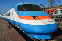 Moscow, Russia - April 1.2017. Sokol 250 is experienced Russian high-speed train in Museum of History of Railway Transport Develop Stock Photography