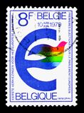 European elections, serie, circa 1979. MOSCOW, RUSSIA - APRIL 15, 2018: A stamp printed in Belgium devoted to European elections, serie, circa 1979 vector illustration
