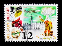 Carneval in Binche, Folklore serie, circa 1986. MOSCOW, RUSSIA - APRIL 15, 2018: A stamp printed in Belgium shows Carneval in Binche, Folklore serie, circa 1986 stock illustration