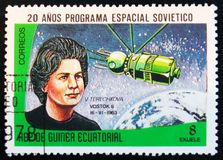 MOSCOW, RUSSIA - APRIL 2, 2017: A stamp printed in Guinea Equatorial shows Vostok 3 and 4 spaceship, 1962, and portraits. MOSCOW, RUSSIA - APRIL 2, 2017: A stamp royalty free stock photos