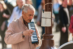 Street musician on Old Arbat Royalty Free Stock Photo