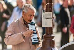Street musician on Old Arbat royalty free stock photo