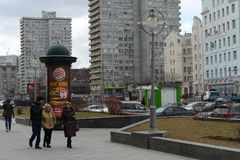 Street New Arbat spring cloudy day. MOSCOW, RUSSIA -  APRIL 3, 2016: Street New Arbat spring cloudy day Royalty Free Stock Photo