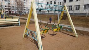 Moscow, Russia-April 24.2018. swing on street in the city. Moscow, Russia-April 24.2018. swing on the street in the city stock footage