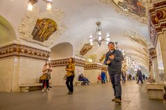 MOSCOW, RUSSIA- APRIL, 29, 2018: Unidentified people walking in Kievskaya Metro Station in Moscow. It is on the. Koltsevaya Line, between Park Kultury and Stock Photo