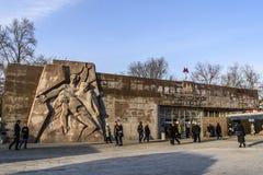 View of the bas-relief and the ground-based lobby of the Barrikadnaya metro station on the Tagansko-Krasnopresnenskaya line. royalty free stock photos