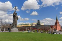 Monument to Prince Vladimir the Great on Borovitskaya Square near the Kremlin in Moscow. Russia. Moscow, Russia - April 27, 2018: View of Monument to Prince royalty free stock image