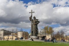Monument to Prince Vladimir the Great on Borovitskaya Square in Moscow. Russia. Moscow, Russia - April 27, 2018: View of Monument to Prince Vladimir the Great on stock photos