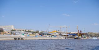 Construction of the park Zaryadye. Royalty Free Stock Photos
