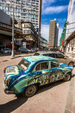 Vintage car on Old Arbat - very popular tourist place, pedestria Royalty Free Stock Images