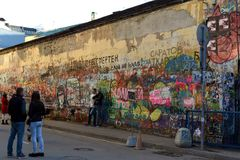 The wall of memory of the famous singer Viktor Tsoi on Old Arbat. The authorities of Moscow are constantly trying to paint over it. MOSCOW, RUSSIA - APRIL 17 stock photography