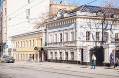 XIX century buildings on the Aleksandra Solzhenitsyna street, 10, building 4 and 12, building 5. Moscow, Russia - April 10, 2015: XIX century buildings on the Stock Images