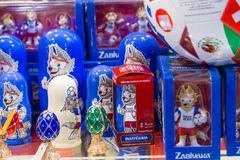 MOSCOW, RUSSIA - APRIL 30, 2018: Zabivaka is the official mascot of the 2018 FIFA World Cup mundial. Souvenir shop shelf. MOSCOW, RUSSIA - APRIL 30, 2018 Royalty Free Stock Photos