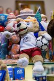 MOSCOW, RUSSIA - APRIL 30, 2018: Zabivaka is the official mascot of the 2018 FIFA World Cup mundial. Souvenir shop shelf. MOSCOW, RUSSIA - APRIL 30, 2018 Stock Photography
