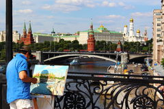 Moscow, Russia. The artist at work. royalty free stock photography