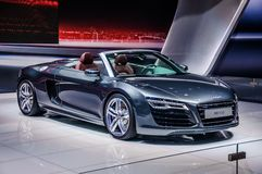 MOSCOW, RUSSIA - AUG 2012: AUDI R8 SPYDER V10 presented as world Royalty Free Stock Image