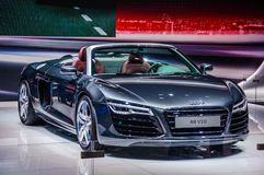 MOSCOW, RUSSIA - AUG 2012: AUDI R8 SPYDER V10 presented as world Royalty Free Stock Images