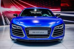 MOSCOW, RUSSIA - AUG 2012: AUDI R8 V10 PLUS presented as world p Stock Images