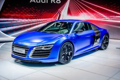 MOSCOW, RUSSIA - AUG 2012: AUDI R8 V10 PLUS presented as world p Stock Photos