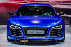 MOSCOW, RUSSIA - AUG 2012: AUDI R8 V10 PLUS presented as world p Royalty Free Stock Images