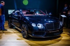 MOSCOW, RUSSIA - AUG 2012: BENTLEY CONTINENTAL GT V8 2ND GENERAT. ION presented as world premiere at the 16th MIAS (Moscow International Automobile Salon) on Royalty Free Stock Images