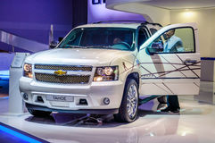 MOSCOW, RUSSIA - AUG 2012: CHEVROLET TAHOE GMT900 presented as world premiere at the 16th MIAS Moscow International Automobile Sal Royalty Free Stock Photography