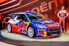 MOSCOW, RUSSIA - AUG 2012: CITROEN DS3 WRC presented as world premiere at the 16th MIAS Moscow International Automobile Salon on A Royalty Free Stock Image