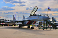 MOSCOW, RUSSIA - AUG 2015: fighter aircraft MiG-29 Fulcrum prese Stock Photography